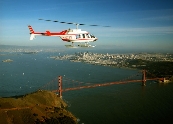 Bell 206L over the Golden Gate Bridge