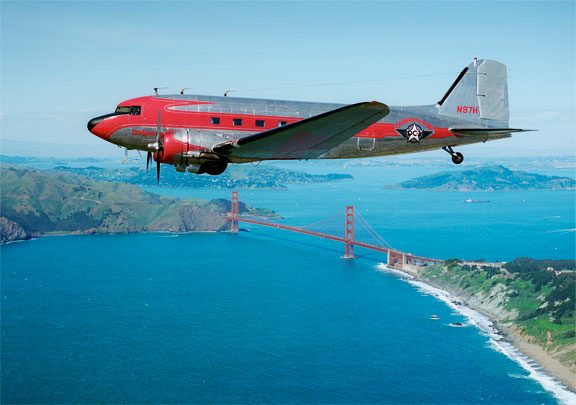 DC-3 N97H over the Golden Gate