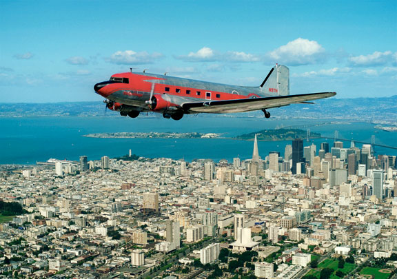 DC-3 N97H over San Francisco