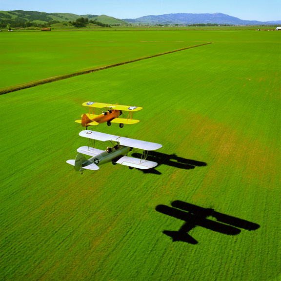 2 Stearman Biplanes over Sonoma field