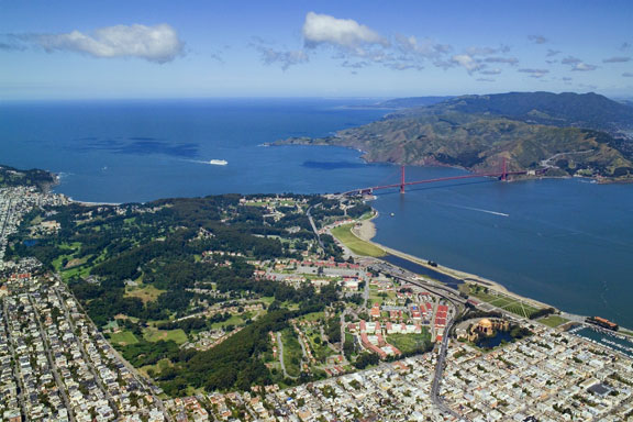 The Presidio of San Francisco with the Golden Gate Bridge and the Marin Headlands in the background