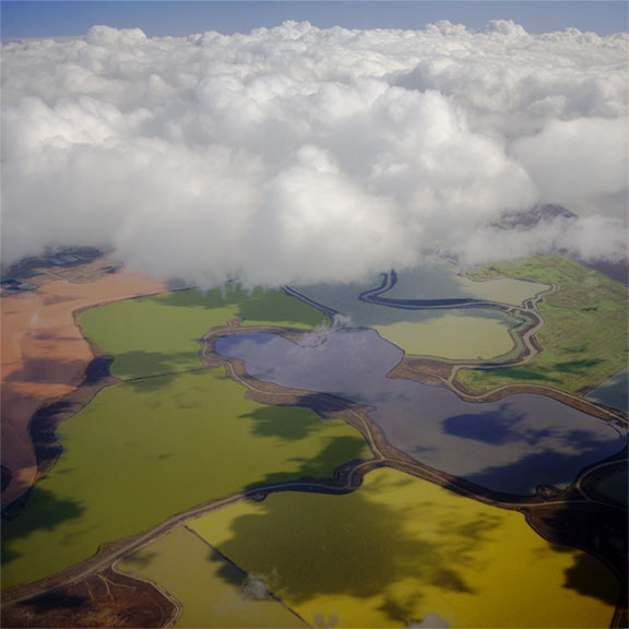 Sonoma Napa Salt Ponds with clouds